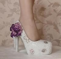 White pearls luxury handmade wedding shoes woman HS158 luxury purple flower decoration womens ladies platforms pearls party pump