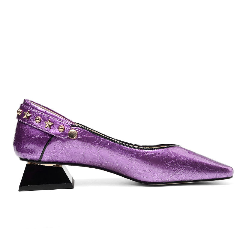 ISNOM براءات الاختراع والجلود مضخات النساء مربع اصبع القدم الأحذية كعوب منخفضة الأحذية الإناث الضحلة مسمار أحذية امرأة الربيع 2019 جديد الأرجواني-في أحذية نسائية من أحذية على  مجموعة 3