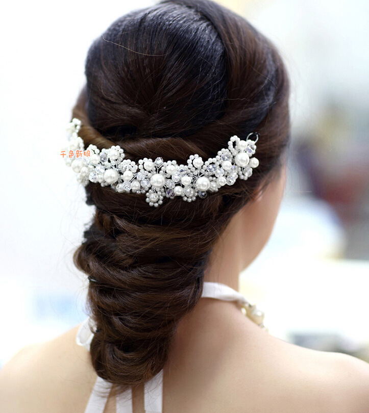 BYSPT Womens White Red Flower Wedding Bridal Party Accessary Handmade Hair Pin Clip Fashion Jewelry