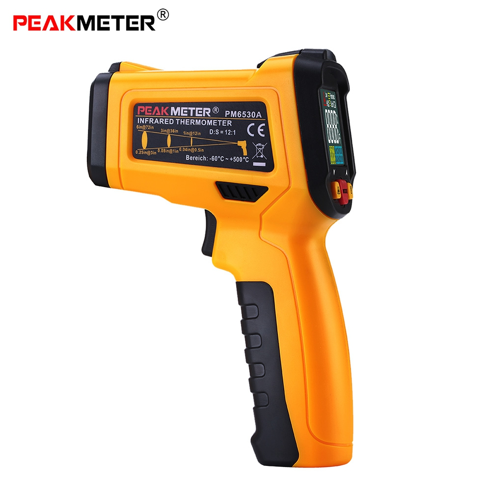 PEAKMETER PM6530A Infrared Thermometer Non-contact Digital Colorful Display Temperature Gun K-type Probe for Cooking Households