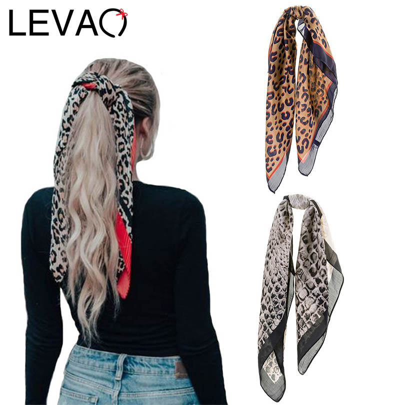 LEVAO Korean Leopard Print Handkerchief Hair Ribbon Hair Scarf Elastic Hair Band Women Headband Girls   Headwear   Hair Accessories