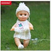 35cm Blink Eyes Soft Vinyl Lifelike Reborn Baby Dolls Cheap Toys With White Dress Gifts