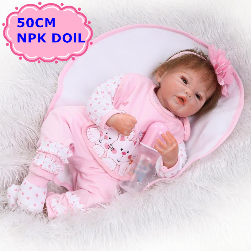 50cm NPK Silicone Bebe Reborn Doll With Soft Cotton Body Realistic Newborn Babies With Cute 20 Doll Clothes Baby Kids Play Toys 20 inches 50 cm baby reborn doll american girl doll soft body lifelike princess dolls with clothes for kids toys bebe newborn