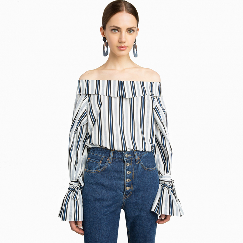 Tie Flare Sleeve Contrast Stripe Fold Over Off Shoulder Tops For