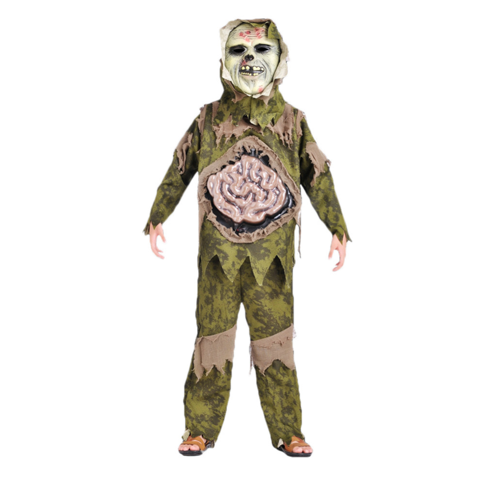 Hallowmas Scary Skeleton Zombie Costume Halloween Party Large Intestine Ghost Gown with Mask for Children Kids