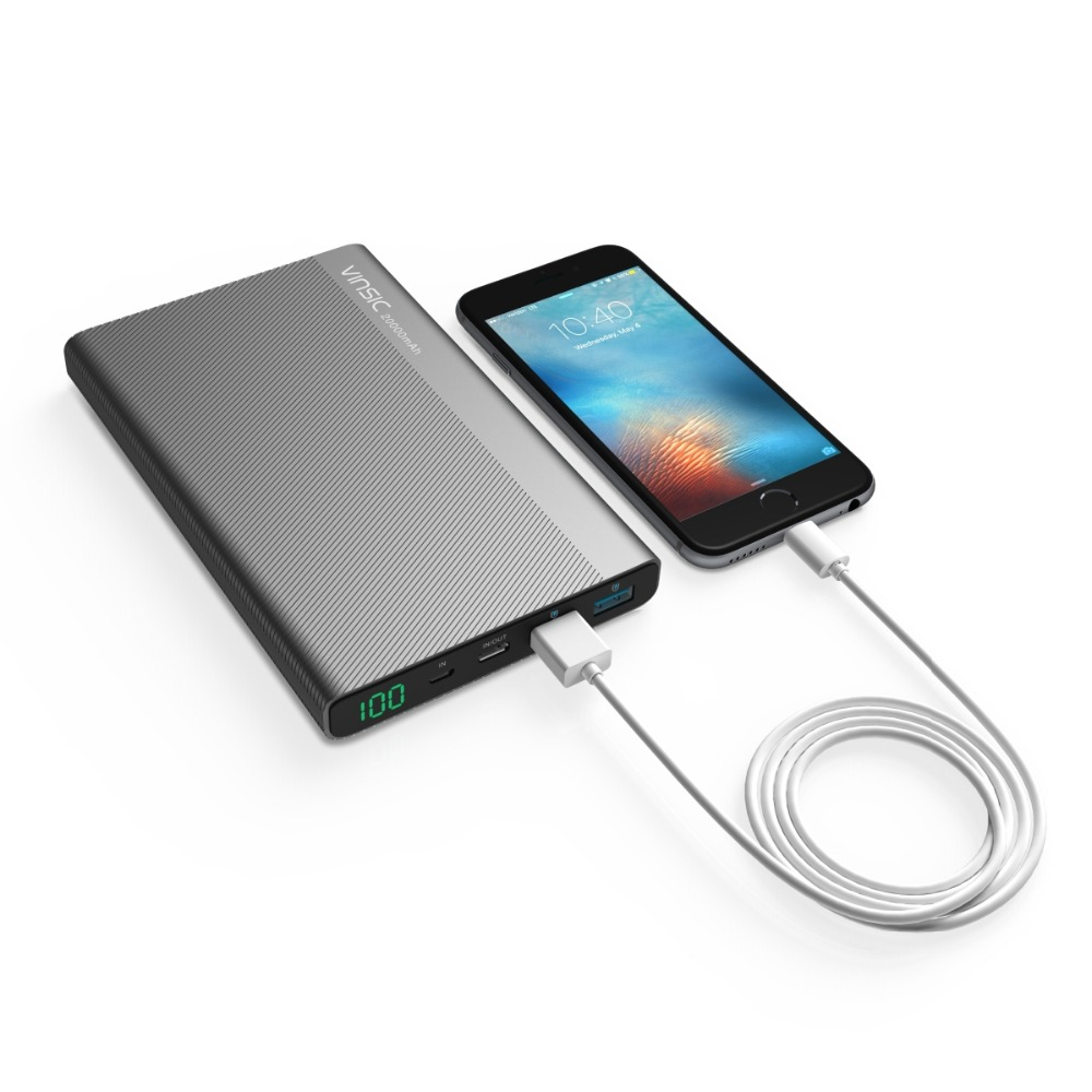 Vinsic Type C 3A USB Power Bank 20000mAh Dual 2.4A Universal External Battery Charger for Iphone Xiaomi Smartphone Tablets