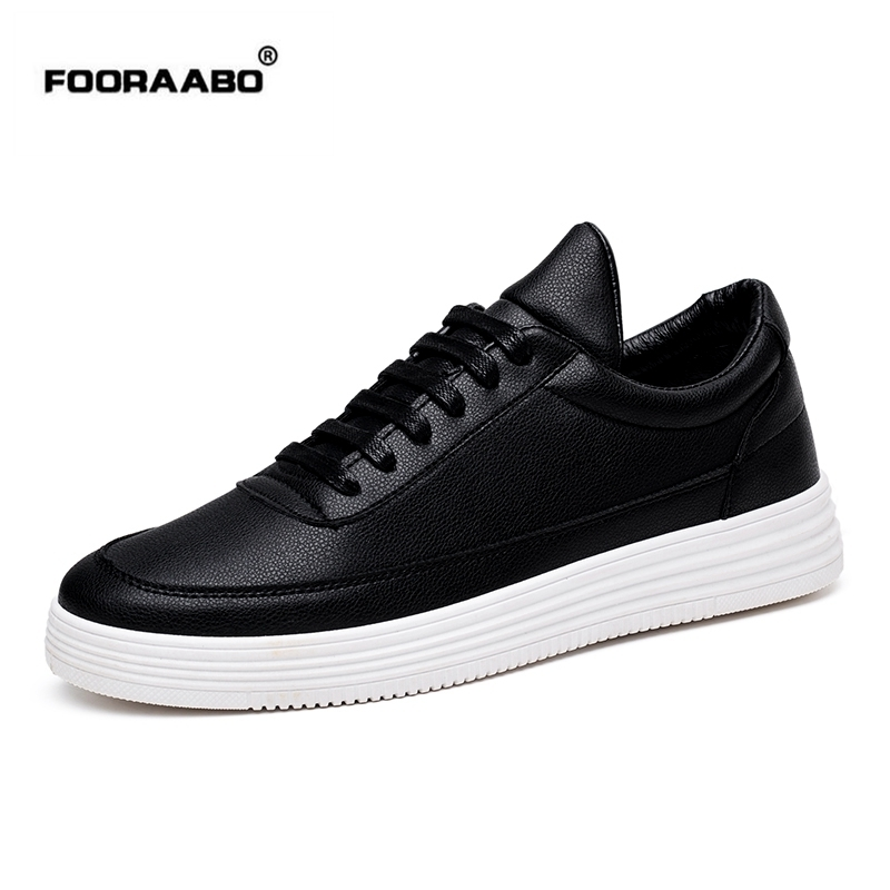 Fooraabo Marca de Lujo Zapatos de Los Hombres Zapatos Casuales de Cuero  Negro Para Hombre Krasovki Cordón Del Resorte Del Otoño Hombres Tenis  Zapatillas de ... c083459aa4a
