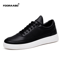 Fooraabo Luxury Brand Men Shoes Leather Casual Black Shoes Mens Krasovki Spring Autumn Lace Up Men