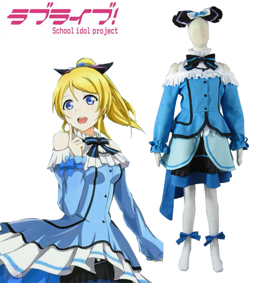 Love Live! Ayase Eli Chapter 12 Lolita Dress Cosplay Costume Customize Halloween Clothes Dress Free Shipping