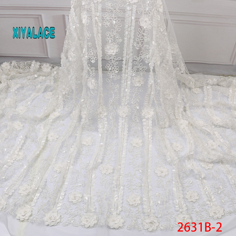 2019 New Style French Net Lace Fabric 3D Flower African Tulle Mesh Lace Fabric High Quality Lace Nigerian Lace Fabric YA2631B-2