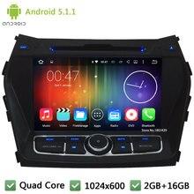Quad Core 16GB Android 5.1.1 2Din HD 1024*600 WIFI 3G BT Car DVD Player Radio Stereo Screen For Hyundai IX45 Santa FE 2013-2015