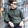 Spring Men Sweater Men's Half Turtle Neck Thickening Sweater Zipper Neck Men's Pure Wool Sweater