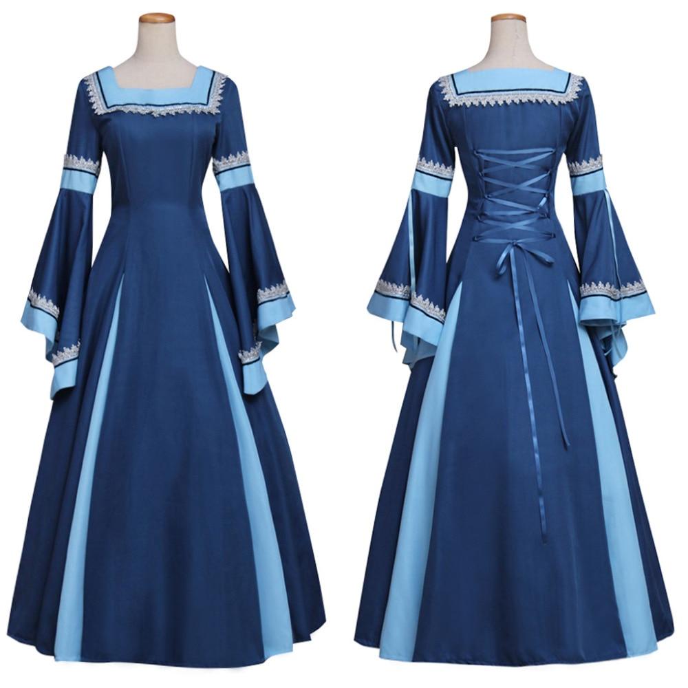 Blue Medieval Renaissance Gothic Victorian Dress Ball Gown Adult ...
