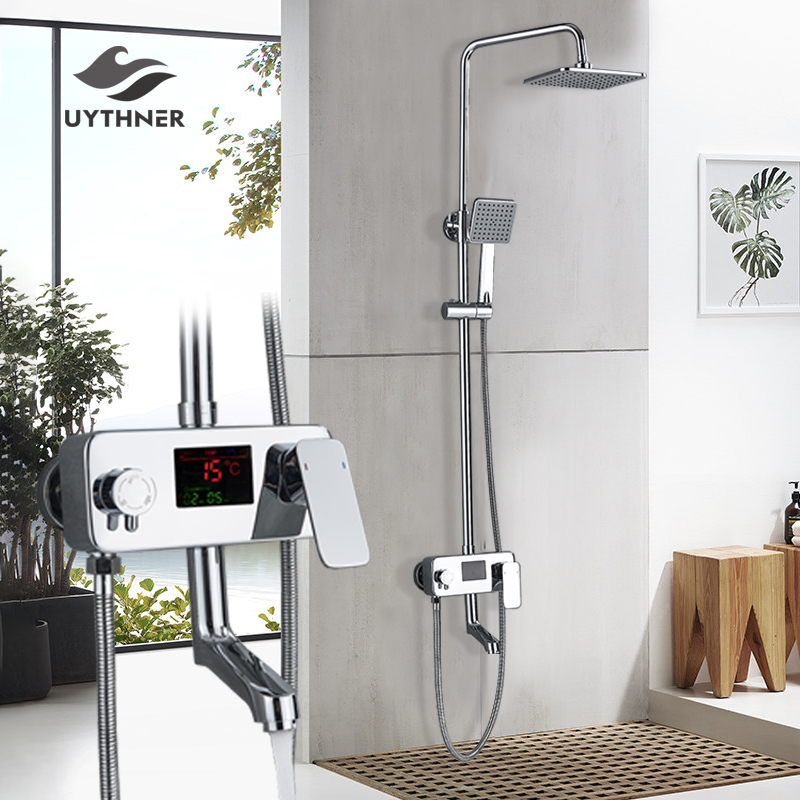 Newly Chrome Digital Display 8 Rainfall Shower Faucet In wall Rotate Tub Spout Shower Mixer Set