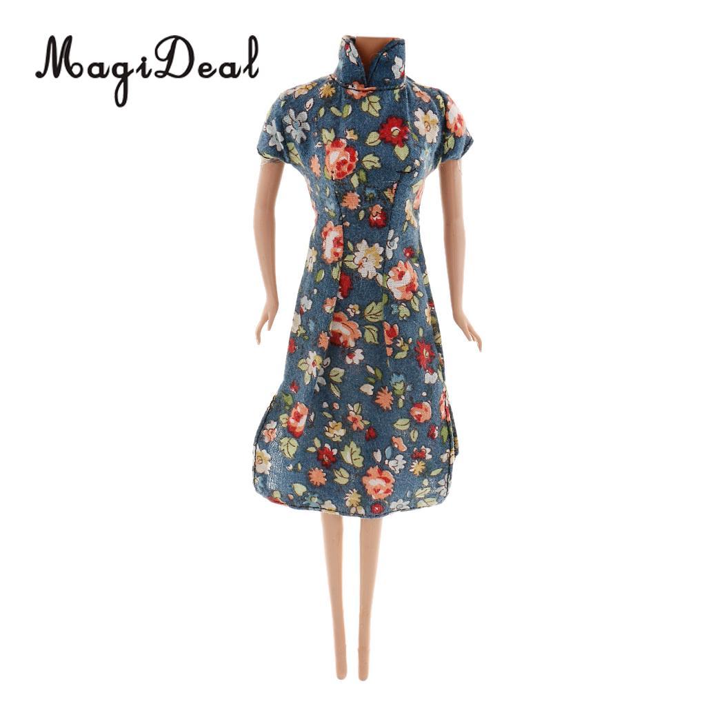 MagiDeal традиционные 1 шт. китайский платье Чонсам Одежда для куклы ежедневно носить Танцы показать образ жизни костюм Длина 18 см Acc ...