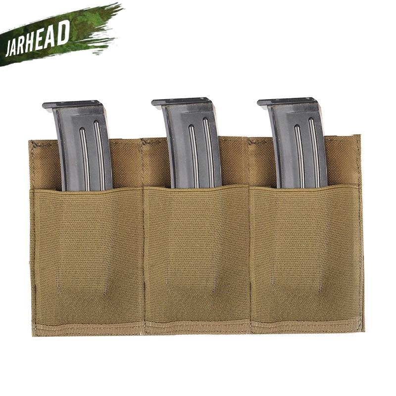 Portable Outdoor Hunting MOLLE Quick Release Triple M4 Magazine Pistol Pouch Bag Elastic Nylon Flashlight Radio Holder Bag