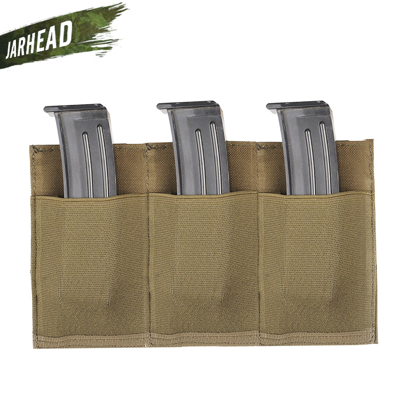 Portable Outdoor Hunting MOLLE Quick Release Triple <font><b>M4</b></font> <font><b>Magazine</b></font> Pistol Pouch Bag Elastic Nylon Flashlight Radio Holder Bag image