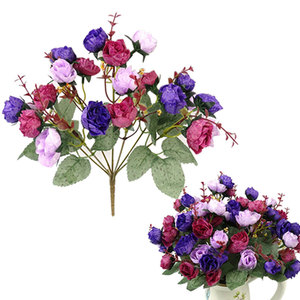 Image 2 - باقة أزهار حرير محاكاة ورود اصطناعية أوروبية جميلة من 21 رأسًا مناسبة لحفلات الزفاف