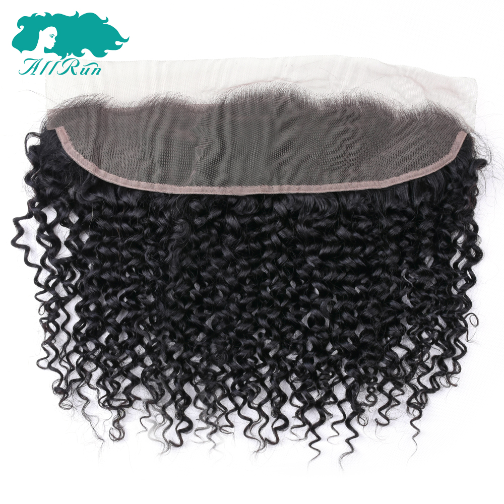 Brazilian Hair Closure Lace-Frontal Free-Part Curly Kinky Allrun Weave Non-Remy To Ear