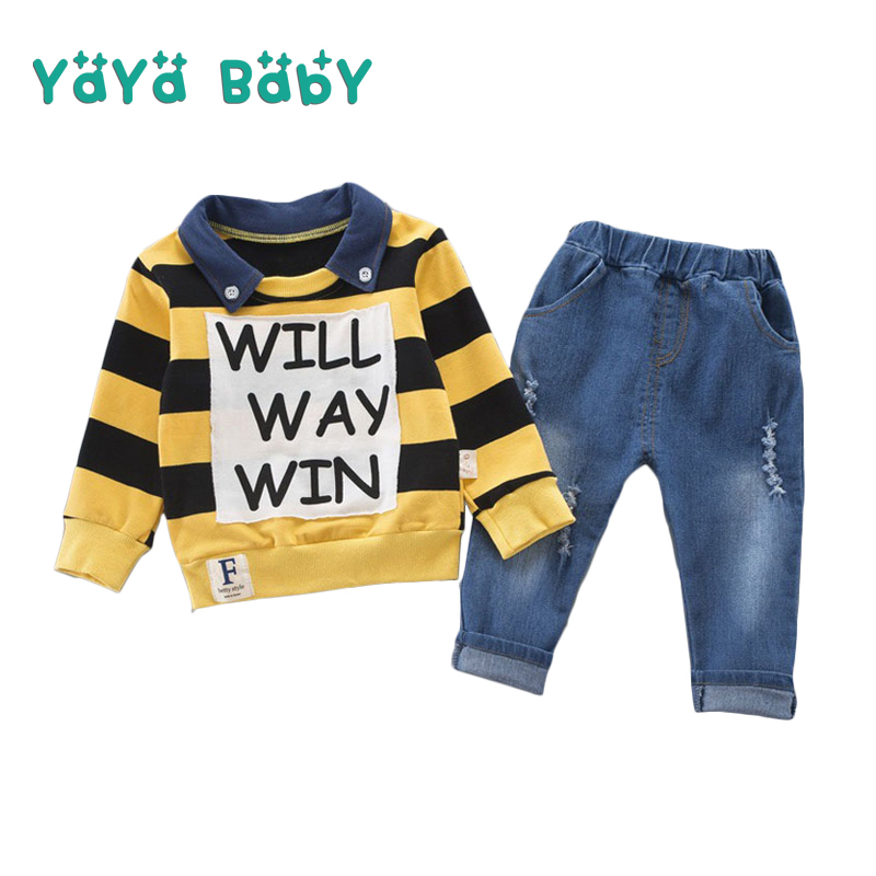 1 2 3 4 Year Children Clothing Set 2018 New Spring Autumn Fashion Boys Clothes Long Sleeve Shirts Denim Pants 2pcs Kids Suits 3pcs love set 1pc hair band 1pc shirts 1pc pants children s clothing set girls clothes suits pink red long sleeve cute suit