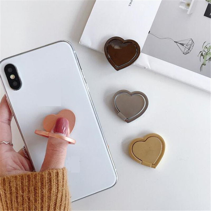 UVR 360 Degree Metal Heart Shape Finger Ring Smartphone Stand Holder Mobile Phone Holder Stand For All Phone For Huawei