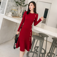 Elegant Fish Tail Sweater Dress 2018 Winter Buttons Ruffles Midi Knit Long Sleeve Dress Female Trumpet Mermaid Dress Knitted