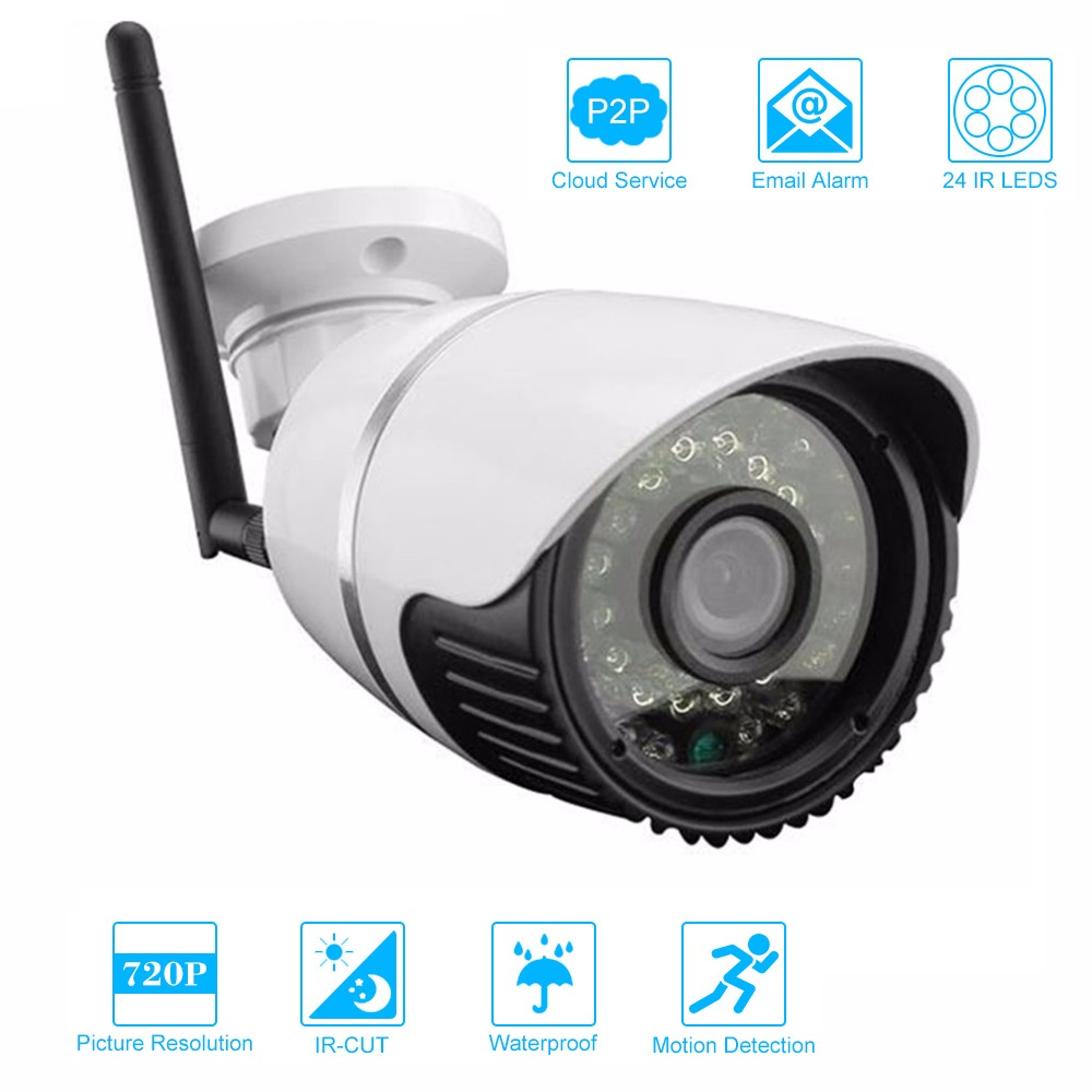 LESHP Waterproof HD 720P CCTV Camera Outdoor Bullet Security Camera IR-CUT Infrared Night Vision 24 IR LEDS Surveillance Camera outdoor waterproof 720p ahd camera 1 0mp bullet 4 array ir leds home security camera waterproof night vision ir cut 4mm lens cam