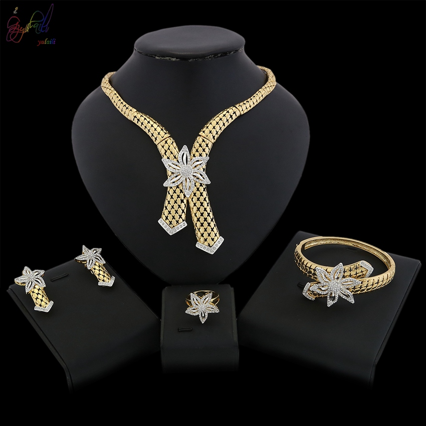 YULAILI Jewelry Sets Wedding Rhinestone African Women 24 Karat Golden Plated Necklace Bangle Earrings Ring Ladies Costume 2017 african wholesale round silver plated rhinestone with square shape earrings jewellery sets for women