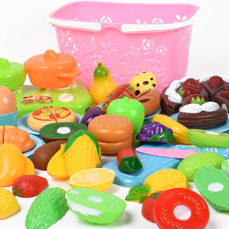 лучшая цена baby kids kitchen toy for children fruits and vegetable toys cooking set pretend play tableware fake food gift for girls