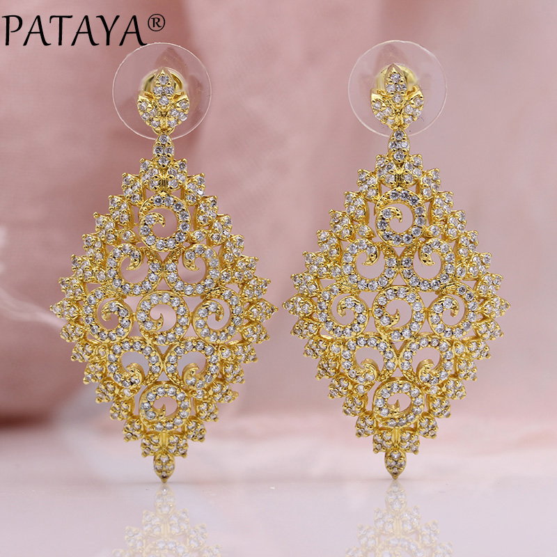 PATAYA New Luxury Long Earring Women Fashion Wedding Party Hollow Rhombic Jewelry 585 Rose Gold Natural Zircon Stud Earrings все цены