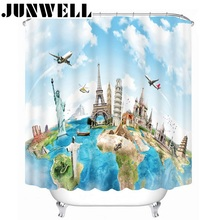 13PCS SET Polyester Waterproof Fabric Shower Curtains 3D Scenic printing Bath Curtain with 12 hooks shower curtain set