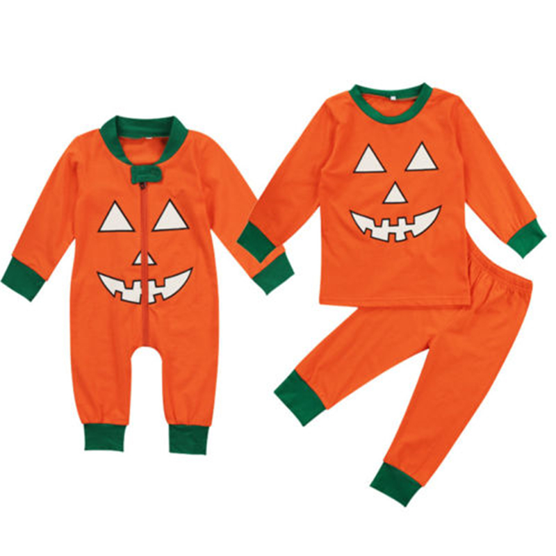 Toddler Baby Unisex Halloween Clothes Set Pumkin Print Long Sleeve Cotton Top T-Shirt Pants 2Pcs 2017 New Kids Pjs Clothing Sets print t shirt pants