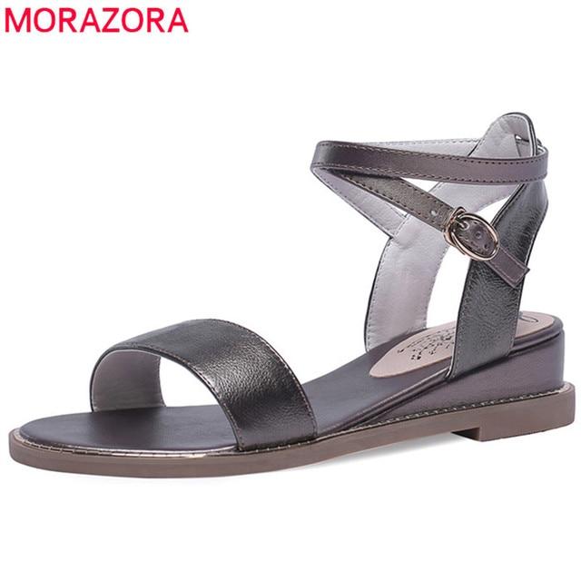 MORAZORA 2019 toptan büyük boy 43 sandalet kadın inek deri ayakkabı basit katı renkler yaz ayakkabı kadın rahat ayakkabılar siyah