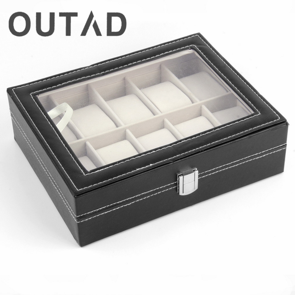 1Pc Luxury PU leather 10 Grid Professional Wrist Watch Box Display Jewelry Storage Organizer Watch Case Caixa Para Relogio