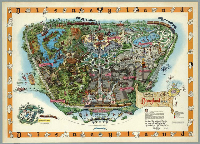 Hand Drawn Us Map.United States Disneyland Hand Drawn Map Retro Matte Kraft Paper