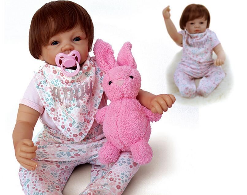20 soft Silicone baby Born Doll reborn beautiful hair Dolls with plush toy for Girls 53c ...