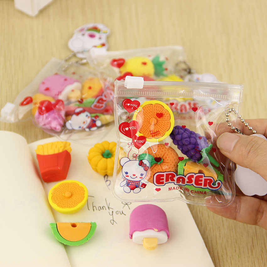 1 Pack Fruit Cuisine Shape Eraser Cute Novelty Erasers Kid Gift Toy Cute Pupils Supplies Office Stationery Sent at Random
