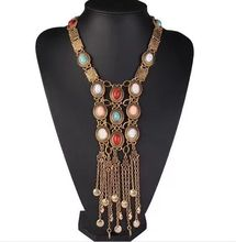 ZA New Fashion Flower choker Vintage Bohemian Beaded Tassel Necklace Women Maxi big bead charms collier female MX0028