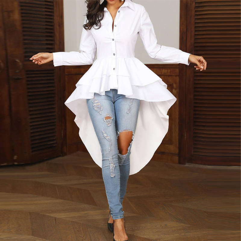 Women Elegant Office Work Solid Turn-down Collar White Shirt Casual Top Layered Flounced Dip Hem Asymmetrical Blouse