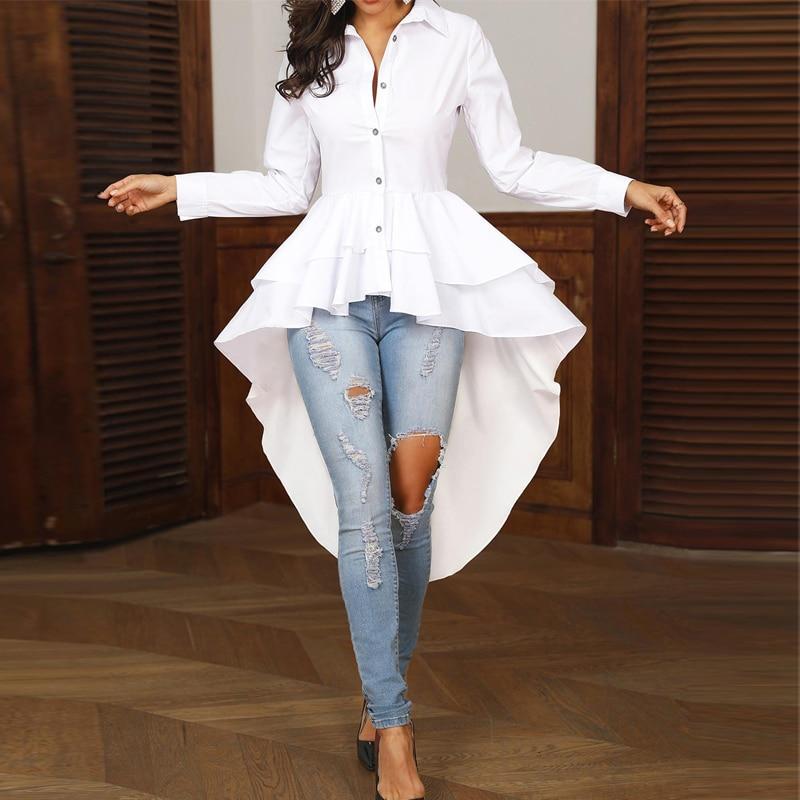 Женская офисная блузка, элегантная однотонная белая рубашка с отложным воротником, повседневный топ с многослойной оборкой и асимметричны...