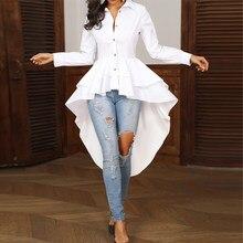 Camisa feminina social com gola virada, camisa feminina branca casual folgada com bainha assimétrica