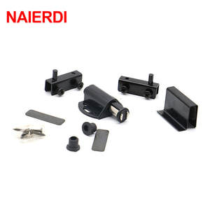 NAIERD 8007 Single Black Cabinet Door Stopper Glass Magnetic Push To Open  Touch Catch