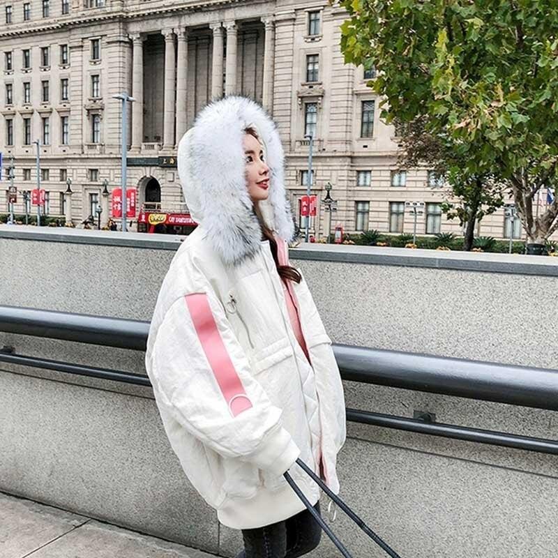 2018 white Mode Taille Veste Capuche Col Pain Lâche Femmes La Plus D'hiver Service Grand Ls14 Épaisse Coton Black Parka Rembourrée De Fourrure À Nouvelle IXqgX6