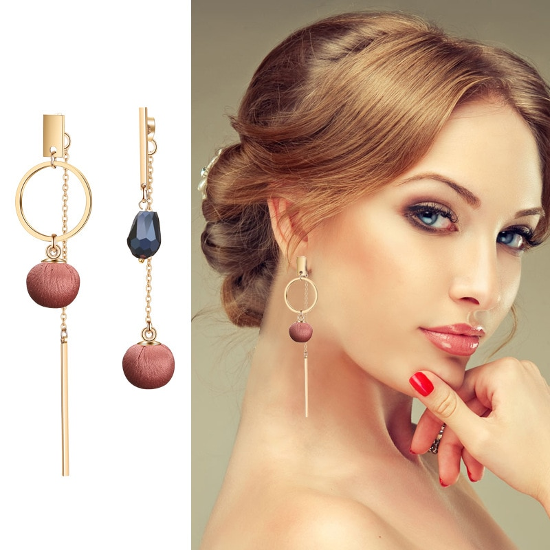 RUOYE Purple Brown Red Creative Fashion Tassels Cloth Ball Drop Earring Big Crystal Circle Design Earring For Women Jewelry