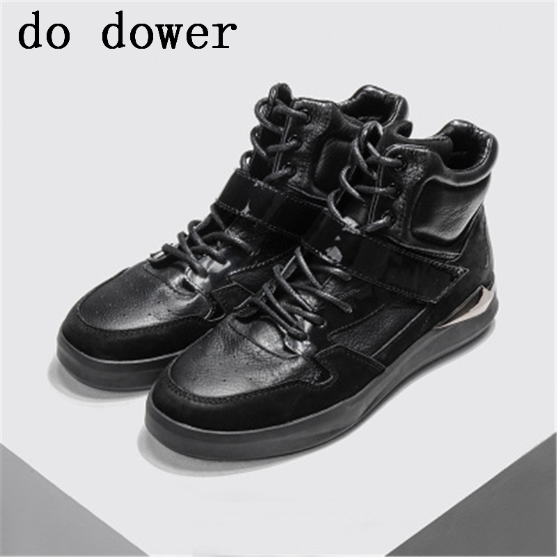 Male Adult Ankle Boots Fashion Casual Flats Spring Luxury Trainers Lace-Up Patchwork Solid Sneaker Men Genuine Leather Shoes 2017 european sports male leather shoes white shoesmen breathable sneaker fashion boots men casual shoes handmade fashion comfo