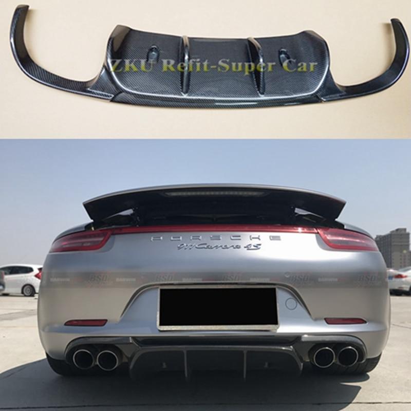 VRS Style Real Carbon Fiber Rear Bumper Diffuser For Porsche 911 991 Carrera & Carrera S Models 2012 2013 2014 2015 Spoilers & Wings     - title=