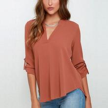Women V Neck Solid Chiffon Blouse S to 5XL