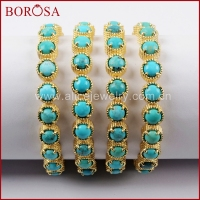 BOROSA 1piece Fashion Jewelry Gold Color Round Twenty Stone Natural Turquoises Bracelet For Women ZG0338