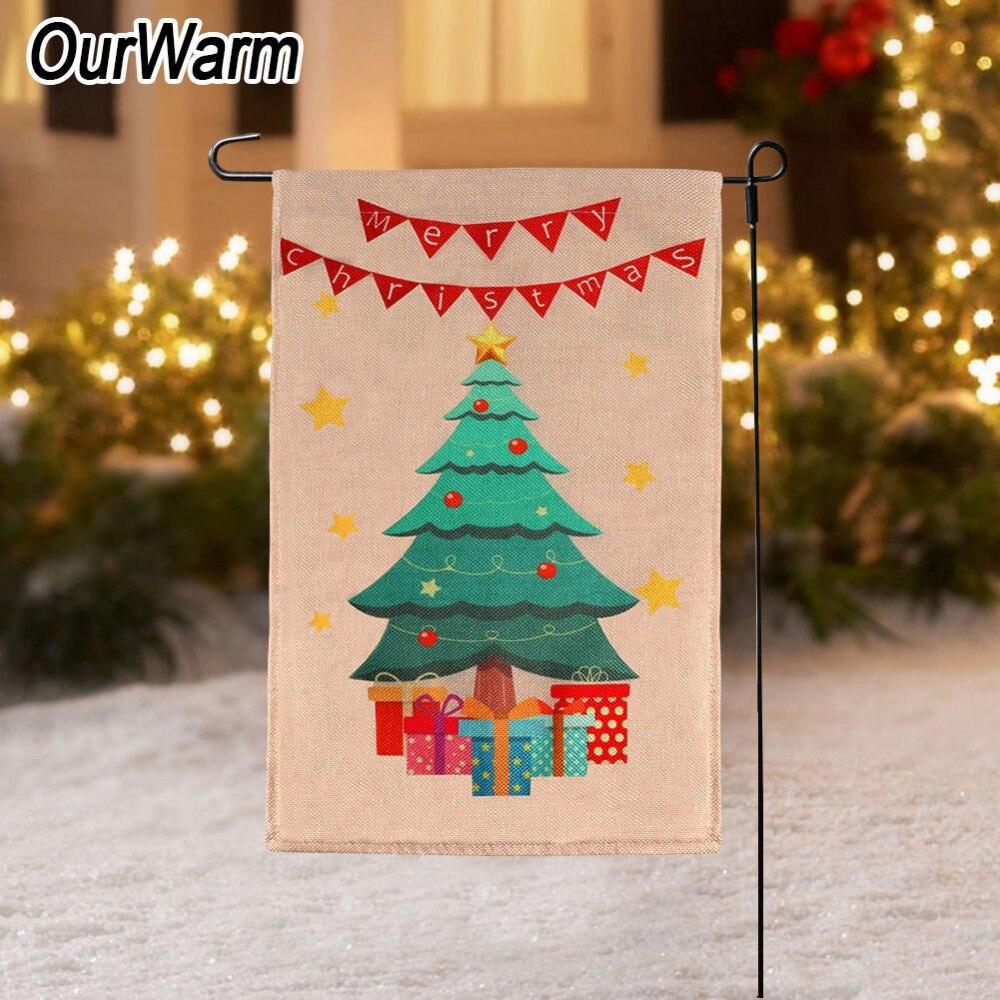 OurWarm Christmas Tree Garden Flag Double Sided 30x45cm ...