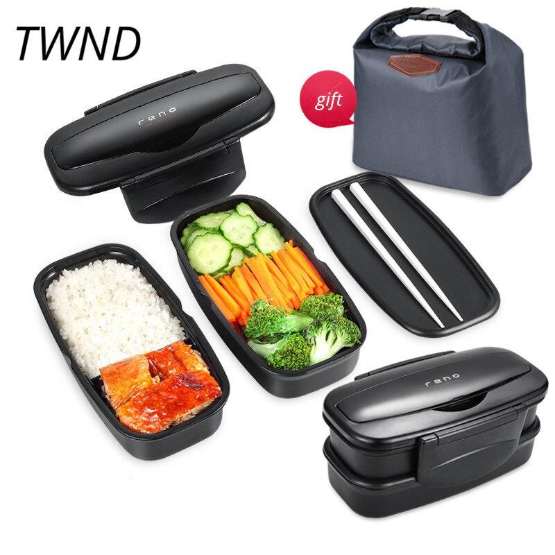 Japon style bento boîte à lunch en plastique boîte micro-ondes simple couleur double couche vaisselle avec des baguettes